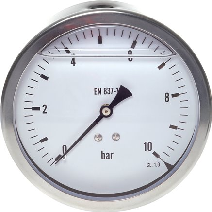 Glycerinmanometer waagerecht Ø 100 mm Chromnickelstahl/Messing, Eco-Line